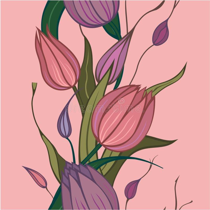 Nahtloser Hintergrund mit rosafarbenen Blumen vektor abbildung