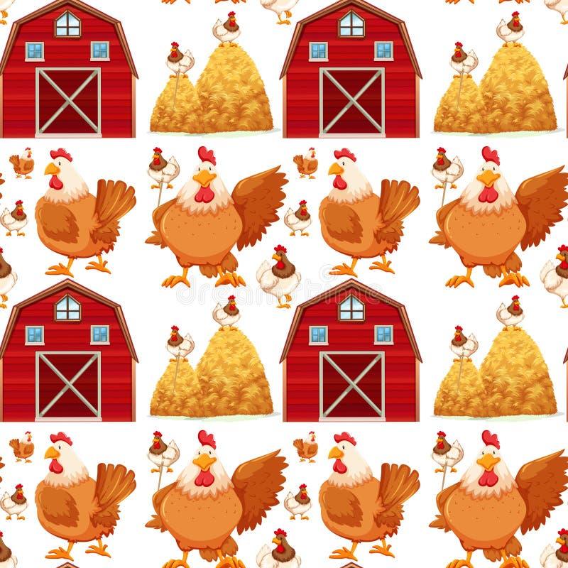 Nahtloser Hintergrund mit Scheune und Hühnern lizenzfreie abbildung