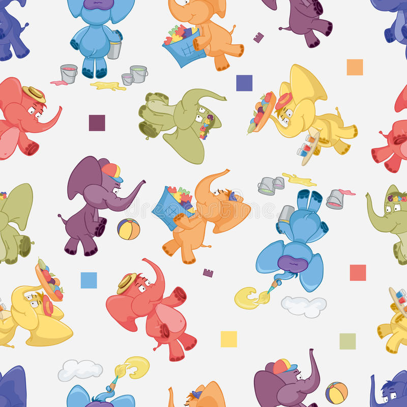 Nahtloser Hintergrund mit schillernden Elefanten stock abbildung