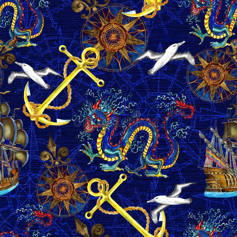 Nahtloser Hintergrund mit Seemuster, -drachen und -kompaß stock abbildung