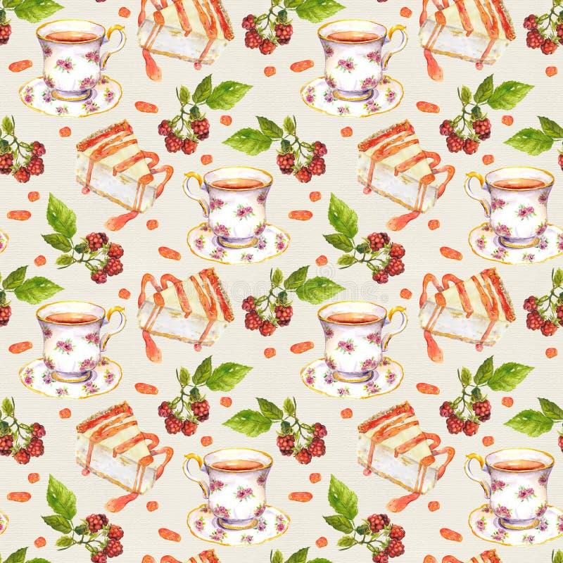 Nahtloser Hintergrund mit Teeschalen, Gebäck - Käsekuchen und Beeren watercolor lizenzfreie abbildung