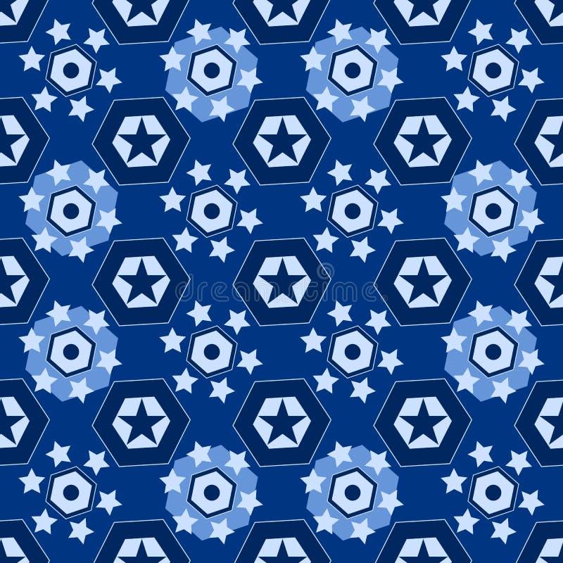 Nahtloser Hintergrund mit verschiedenen geometrischen Sternen stock abbildung
