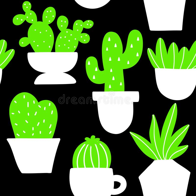 Nahtloser Hintergrund mit Zimmerpflanzen in der skandinavischen Art vektor abbildung