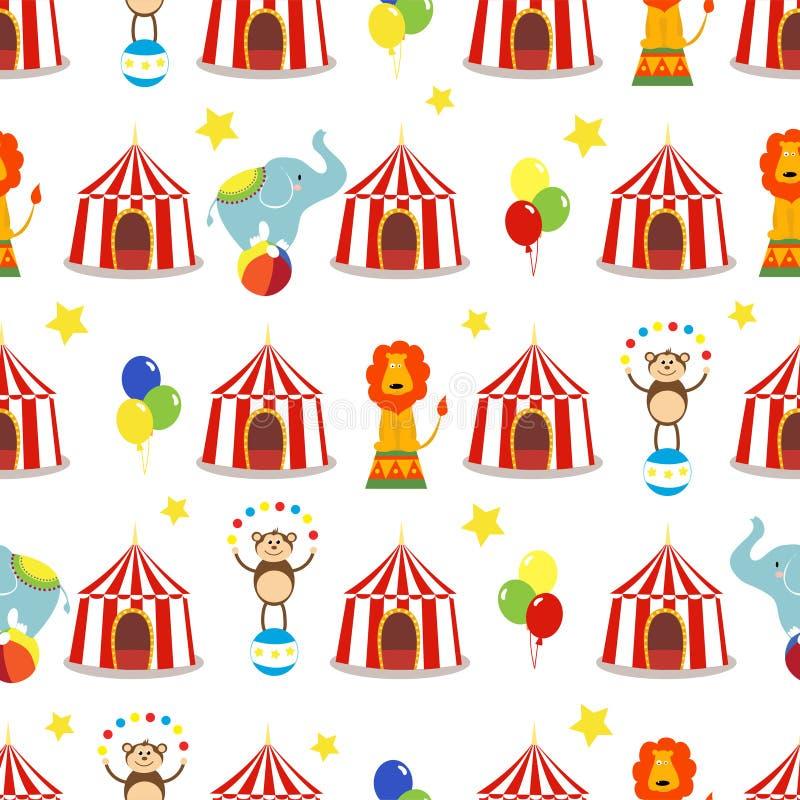Nahtloser Hintergrund, Muster, netter Elefant der Karikatur, Löwe und Affe mit Zirkuszelt lizenzfreie abbildung