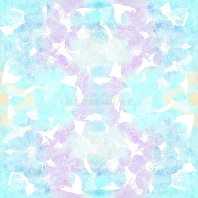 Nahtloser Hintergrund Tropische Blumen Grafische Künste Dekorative Zusammensetzung - Blumen auf einem Aquarellhintergrund Verwend vektor abbildung
