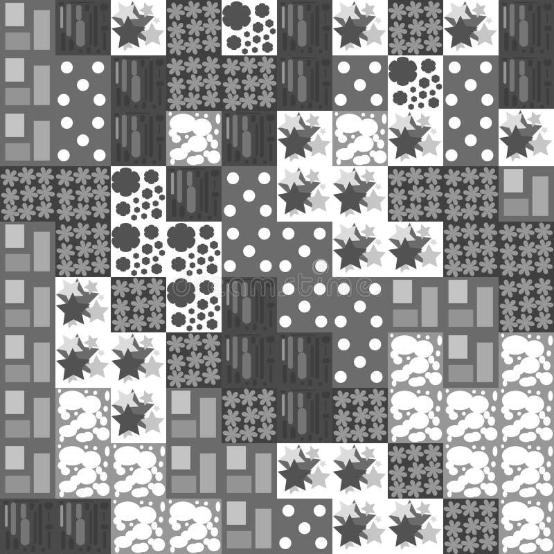 Nahtloser Hintergrund von grauen und weißen Quadraten mit verschiedenen Mustern lizenzfreie abbildung