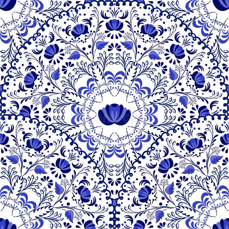 Nahtloser Hintergrund von Kreismustern Russische nationale Art Gzhel der blauen Verzierung vektor abbildung