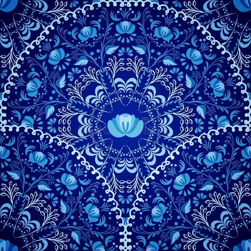 Nahtloser Hintergrund von Kreismustern Russische nationale Art Gzhel der Marineblau-Verzierung stock abbildung