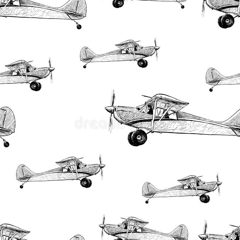 Nahtloser Hintergrund von Skizzen von alten Flugzeugen vektor abbildung