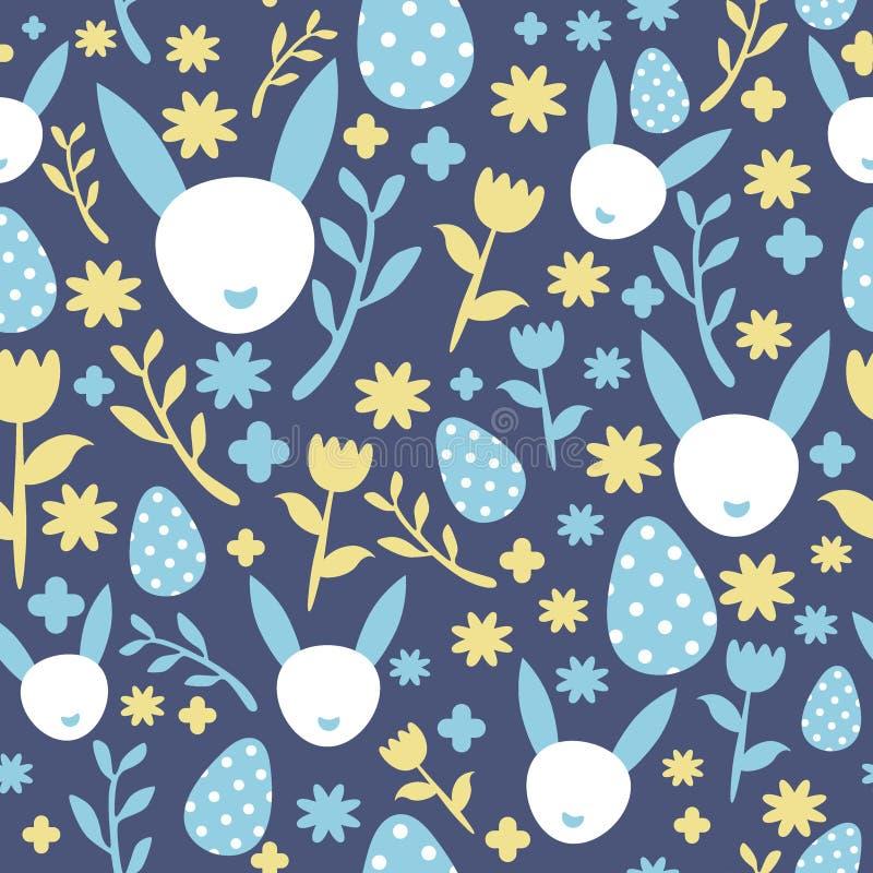 Nahtloser Hintergrund von stilisiertem Osterhasen, Eiern und Blumen stock abbildung