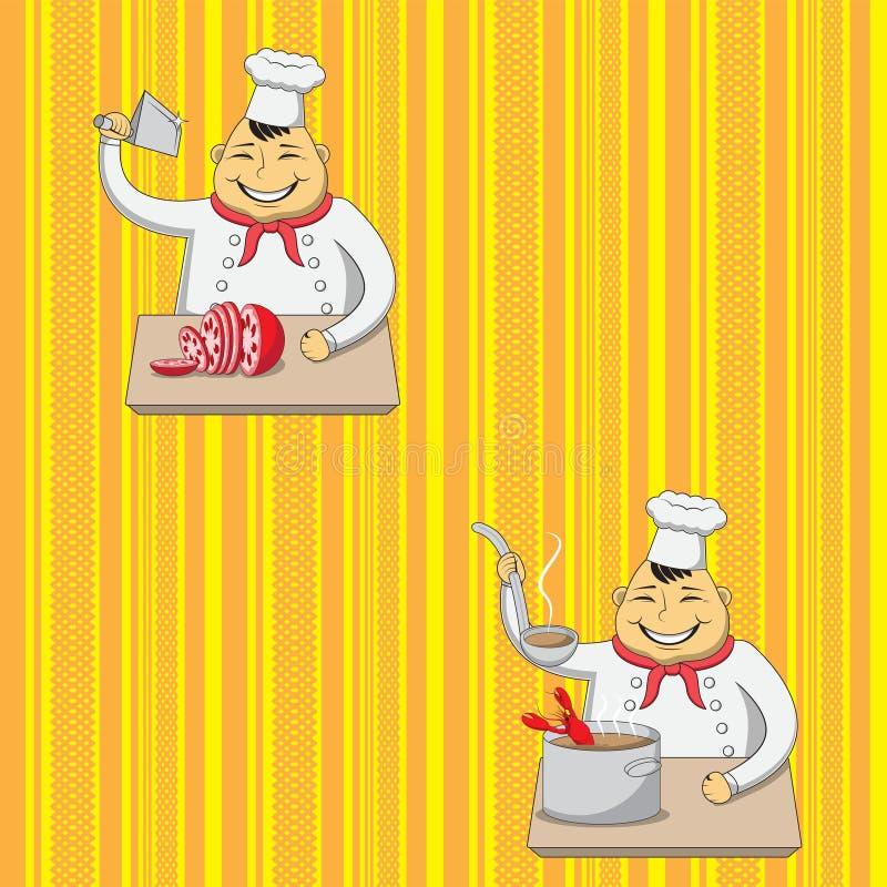 Nahtloser Hintergrundcharakterchef, der Nahrung im Hintergrund gelb-orange zubereitet Druckpapierstoff Regenbogen und Wolke auf d lizenzfreie abbildung