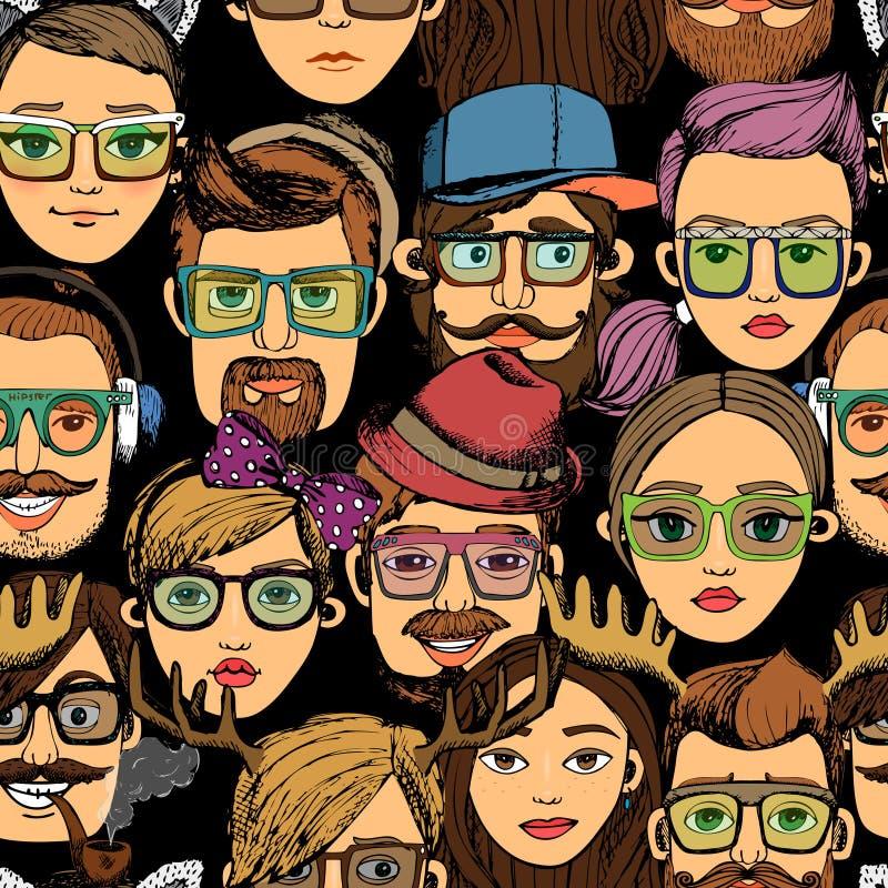 Nahtloser Hintergrunddruck der Hippie-Gesichter lizenzfreie abbildung