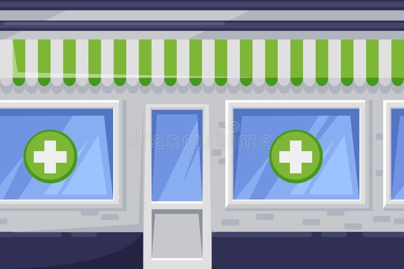 Nahtloser horizontaler Hintergrund mit grünem Apothekenshop Vektorkarikaturillustration des Stadtdrugstoregebäudes lizenzfreie abbildung