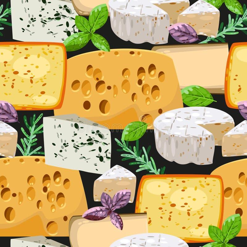 Nahtloser Käse und Kräuter lizenzfreie abbildung
