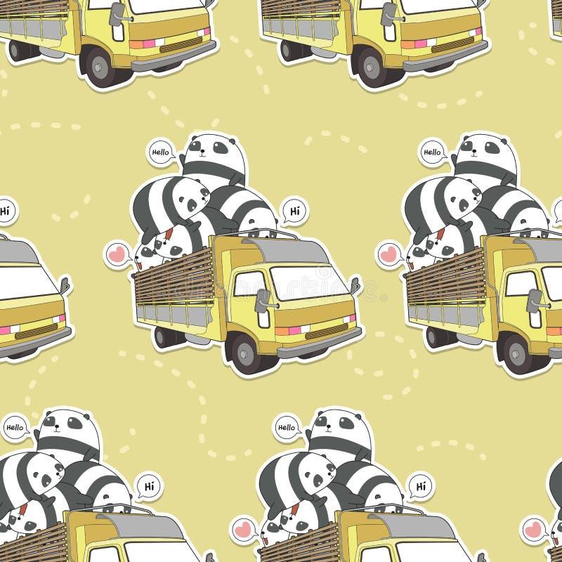 Nahtloser kawaii Panda auf dem LKW-Muster lizenzfreie abbildung