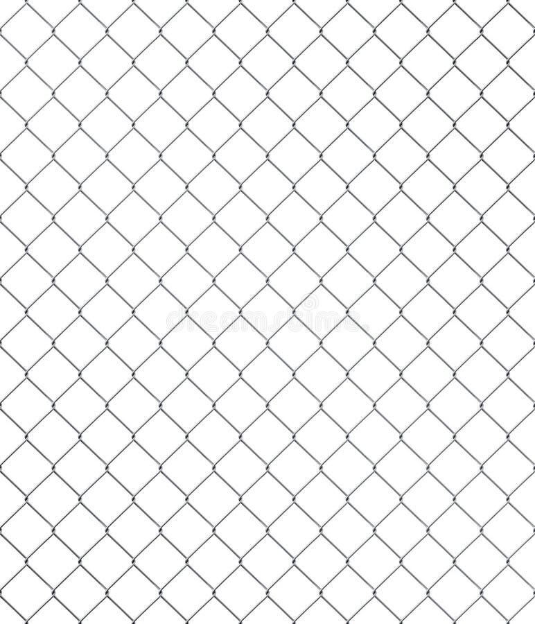 Nahtloser Kettenlinkzaun auf weißem Hintergrund stock abbildung