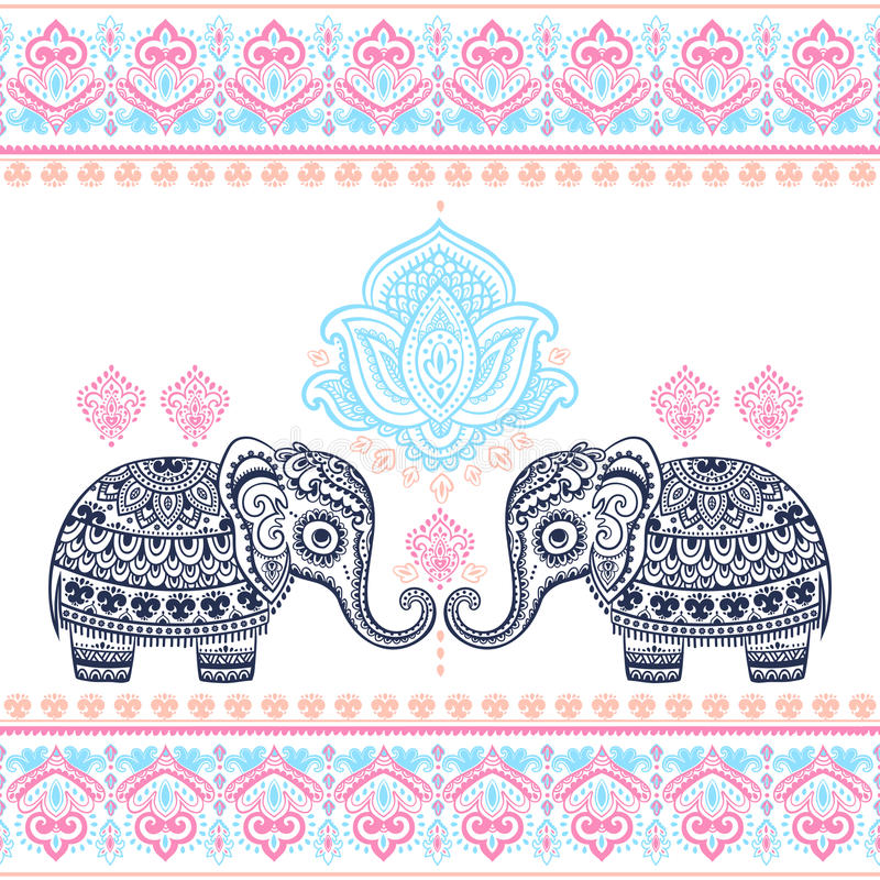 Nahtloser Klaps des grafischen des Vektors der Weinlese indischen Elefanten des Lotos ethnischen stock abbildung