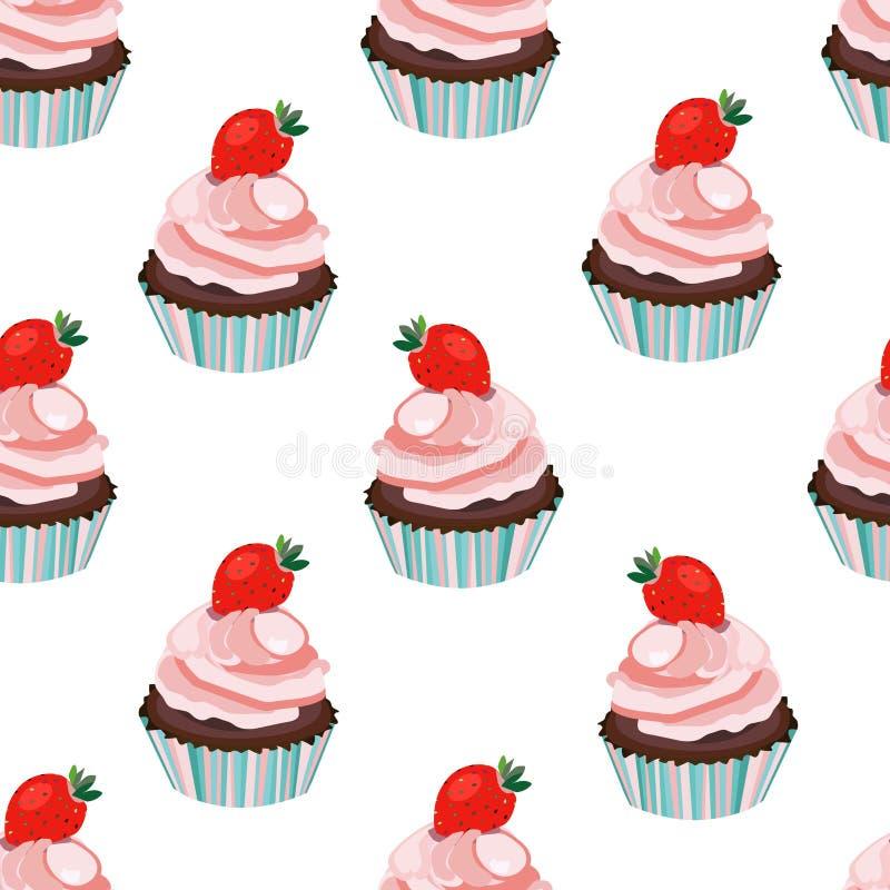 Nahtloser kleiner Kuchen des Vektors Erdbeer, Kuchen, Muffindruck, Muster, Hintergrund Weiches Rosa und blaue Farben stock abbildung