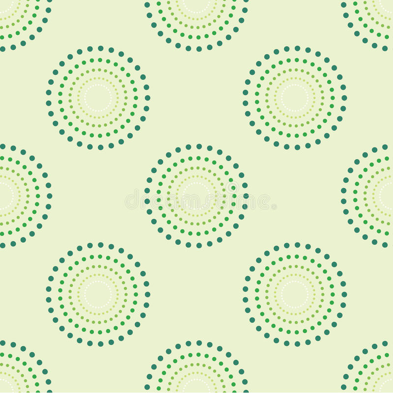 Nahtloser Kreis Dots Green Background Abstract Pattern 1 lizenzfreie abbildung