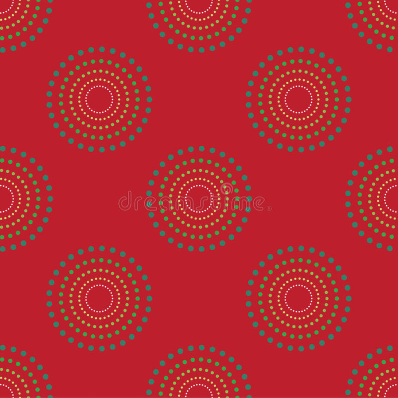 Nahtloser Kreis Dots Red Background Abstract Pattern 1 lizenzfreie abbildung