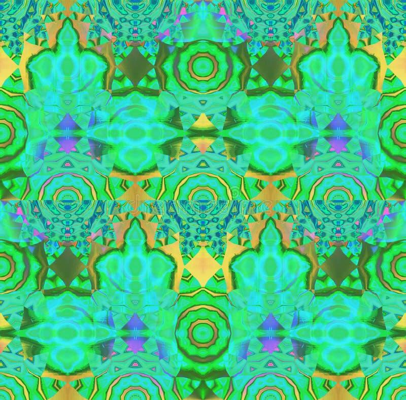 Nahtloser Kreis verziert violettes Purpur des Goldgelbes blauen Grüns vektor abbildung