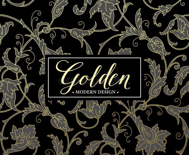 Nahtloser Luxushintergrund mit Goldrahmen Vektor stock abbildung