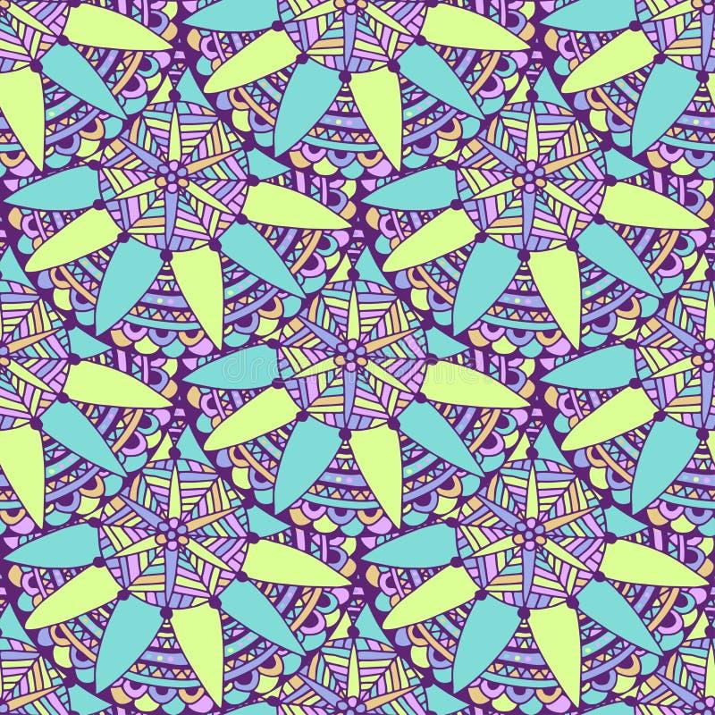 Nahtloser Mandalahintergrund im Vektor Stammes- ethnisches Muster Zentangle für erwachsenes Malbuchseiten- oder -textildesign lizenzfreie abbildung