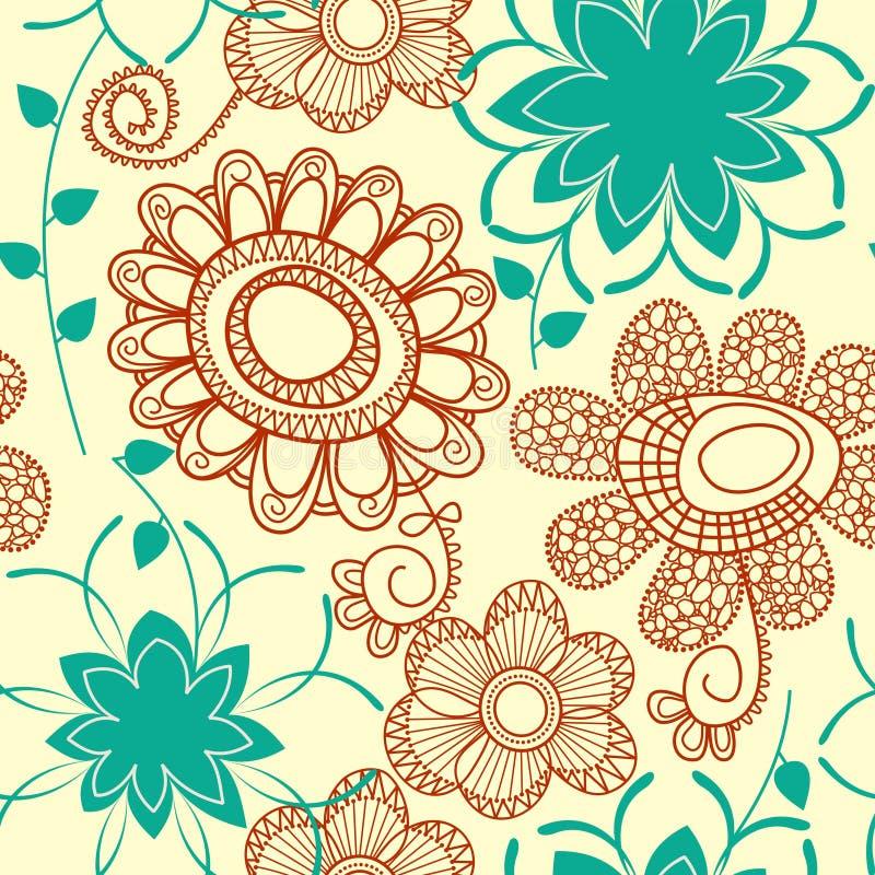 Nahtloser mit Blumenhintergrund lizenzfreie abbildung