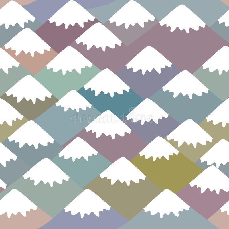 Nahtloser Muster Berg, Naturhintergrund mit Berglandschaft Grau, Rosa, blauer Marineberg mit Schnee-mit einer Kappe bedeckten Spi vektor abbildung