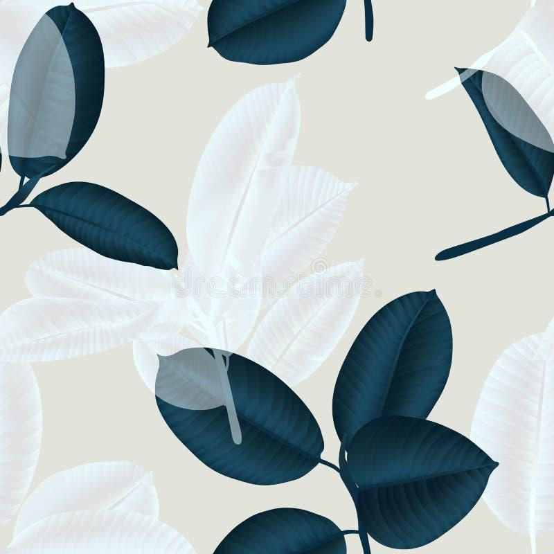 Nahtloser Muster, dunkelgrüner und weißer Ficus Elastica verlässt auf hellrosa vektor abbildung