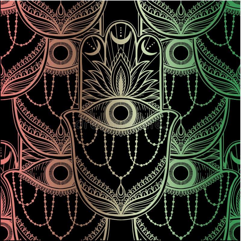 Nahtloser Muster hamsa Talisman-Religion Asiat Goldfarbgraphik im wei?en Hintergrund Symbol des Schutzes und des Talismans gegen vektor abbildung