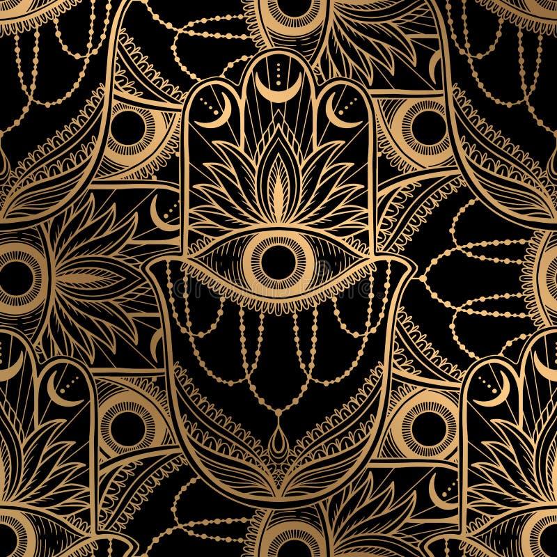 Nahtloser Muster hamsa Talisman-Religion Asiat Goldfarbgraphik im wei?en Hintergrund Symbol des Schutzes und des Talismans gegen stock abbildung