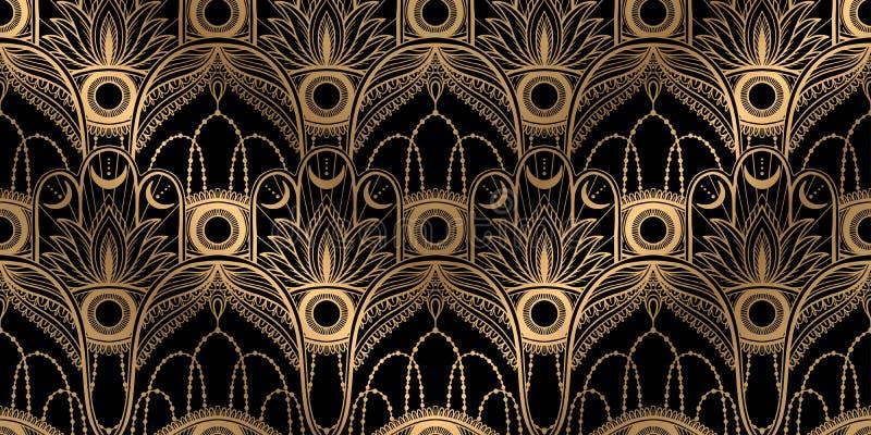 Nahtloser Muster hamsa Talisman-Religion Asiat Goldfarbgraphik im wei?en Hintergrund Symbol des Schutzes und des Talismans gegen lizenzfreie abbildung