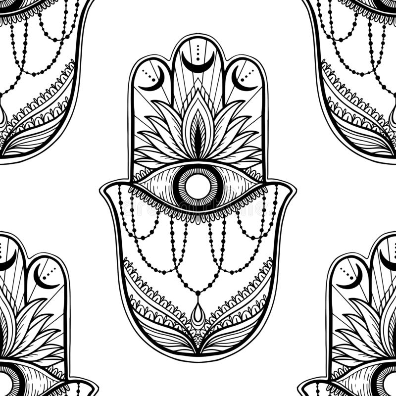 Nahtloser Muster hamsa Talisman-Religion Asiat r Symbol des Schutzes und des Talismans gegen stock abbildung