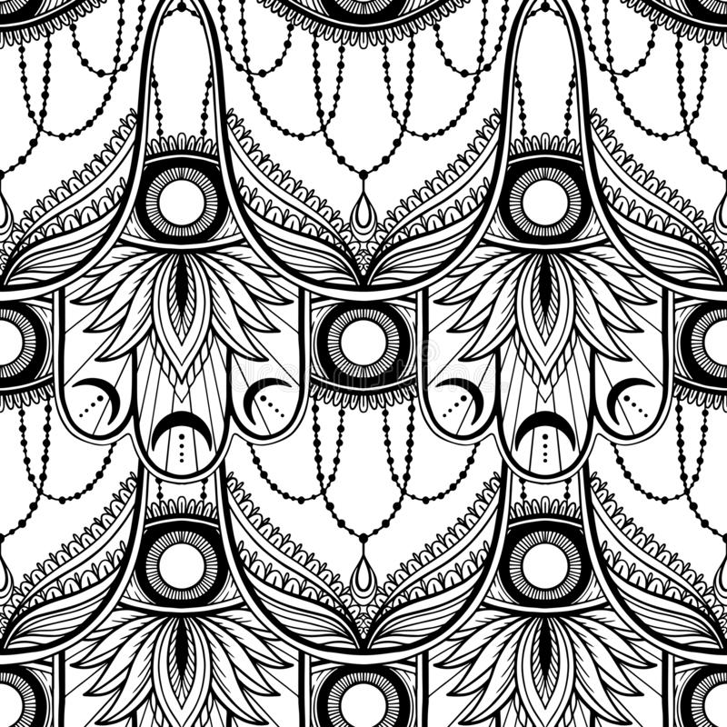 Nahtloser Muster hamsa Talisman-Religion Asiat r Symbol des Schutzes und des Talismans gegen lizenzfreie abbildung