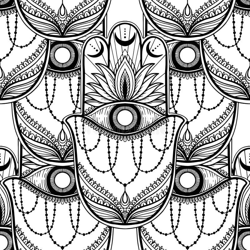 Nahtloser Muster hamsa Talisman-Religion Asiat r Symbol des Schutzes und des Talismans gegen vektor abbildung