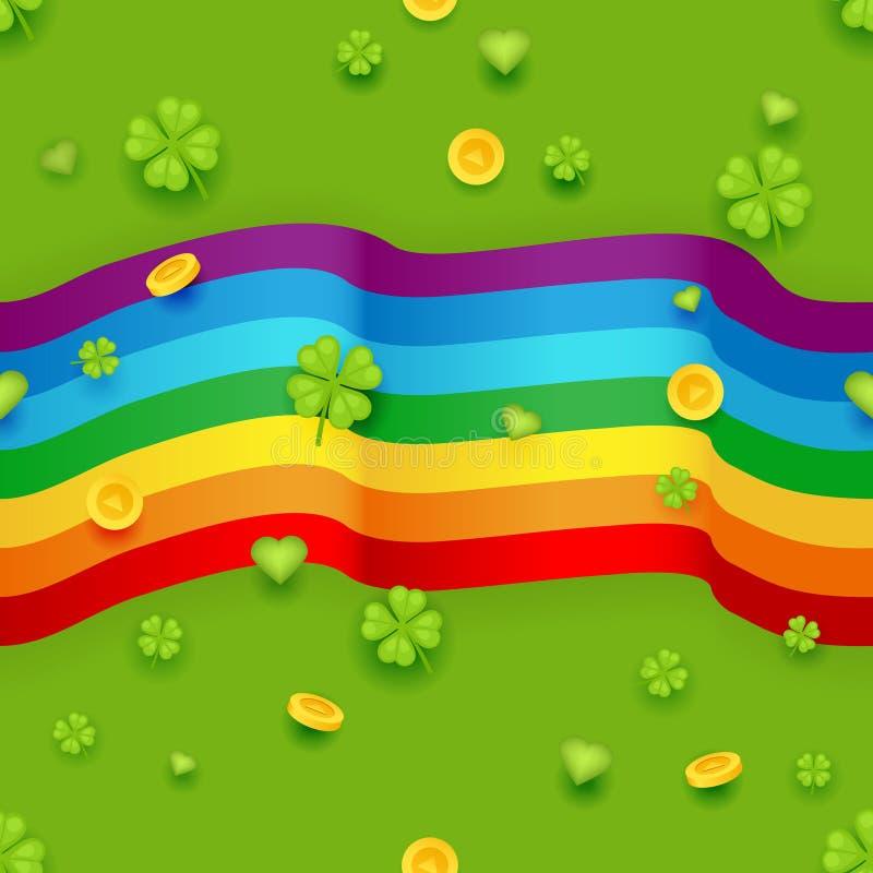 Nahtloser Muster-Heilig-Patrick Day Gold Coins Clover-Grün-Herz-Hintergrund-Gruß-Karten-flacher Design-Vektor lizenzfreie abbildung