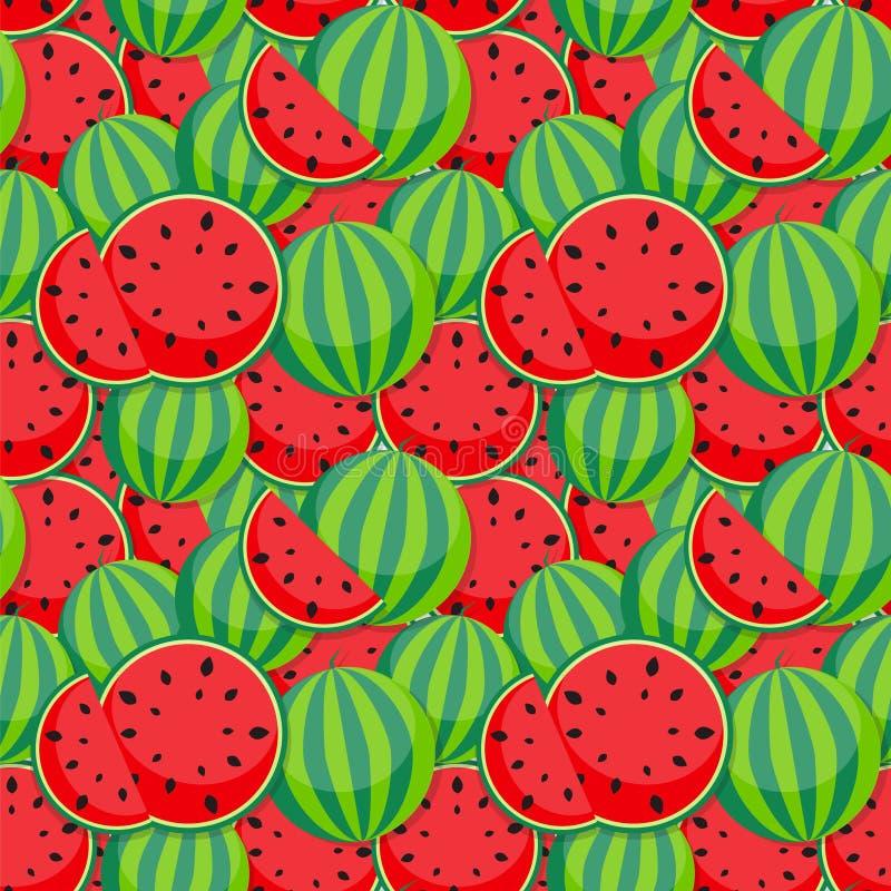 Nahtloser Muster-Hintergrund von der Wassermelone Auch im corel abgehobenen Betrag vektor abbildung