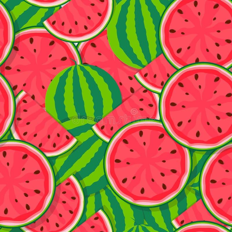 Nahtloser Muster-Hintergrund von der Wassermelone Auch im corel abgehobenen Betrag lizenzfreie abbildung