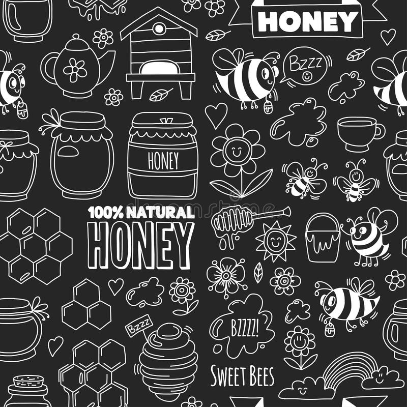 Nahtloser Muster Honigmarkt, Basar, Honig angemessene Gekritzelbilder von Bienen, Blumen, Gläser, Bienenwabe, Bienenstock, Stelle stock abbildung