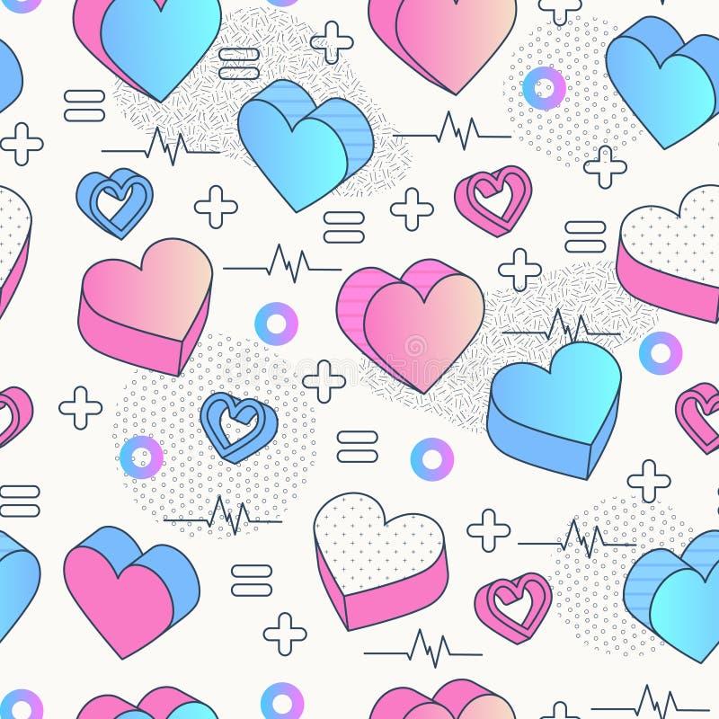Nahtloser Muster Memphis Valentinstag entziehen Sie Hintergrund vektor abbildung