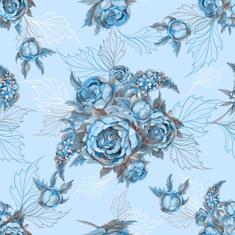 Nahtloser Muster mit Blumenblumenstrau? von Rosenpfingstrosen und -fliedern Vektor watercolor lizenzfreie abbildung