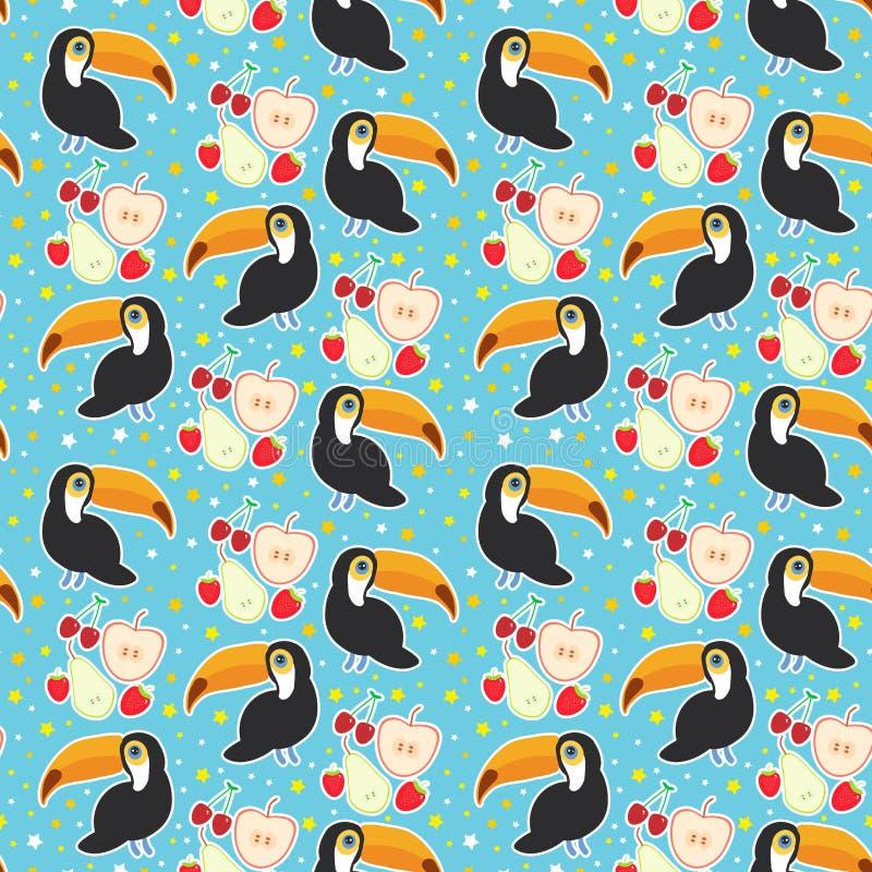 Nahtloser Muster Tukan-Vogel und die Apfelbirnenerdbeerkirsche auf blauem Hintergrund Vektor stock abbildung