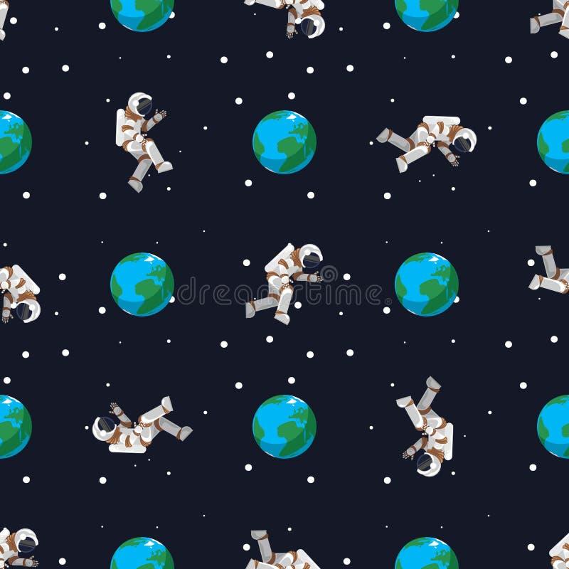 Nahtloser Musterastronaut fliegt nahe der Planet Erde lizenzfreie abbildung