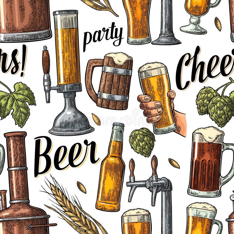 Nahtloser Musterbierhahn, Handgriffglas, Flasche und Hopfen lizenzfreie abbildung
