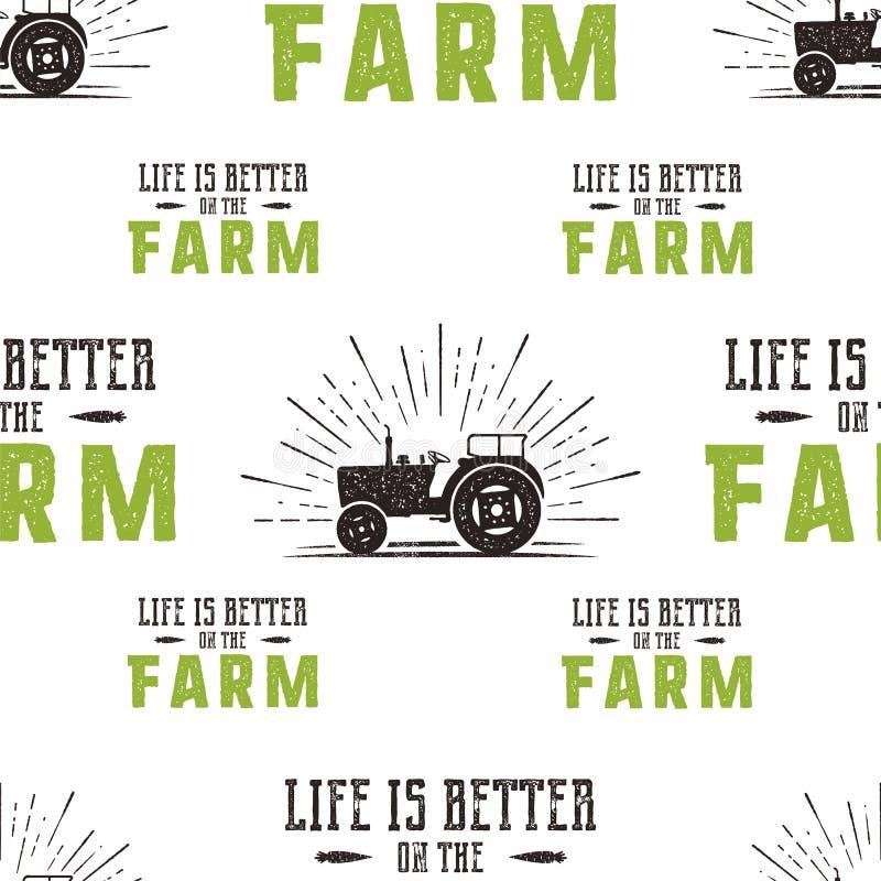 Nahtloser Musterentwurf des Bauernhofes Das Leben ist auf dem Zitat und dem Traktor Fatm in der Retro- beunruhigten Art besser Gr stock abbildung