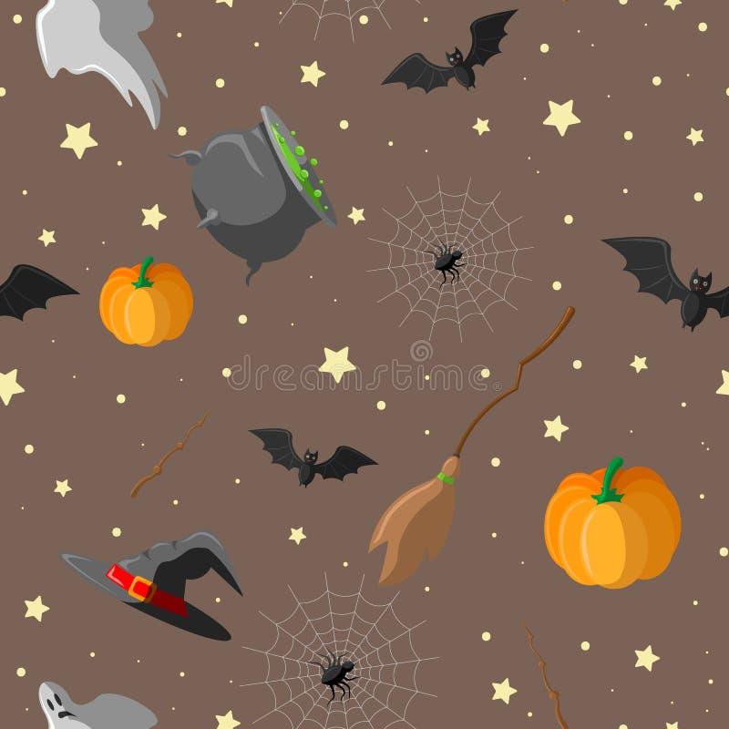 Nahtloser Musterentwurf Halloweens mit Hexenhut, Geist, Kürbis, Topf mit einem Trank, Spinnennetz, Mond, Schläger, magischem Stab stock abbildung