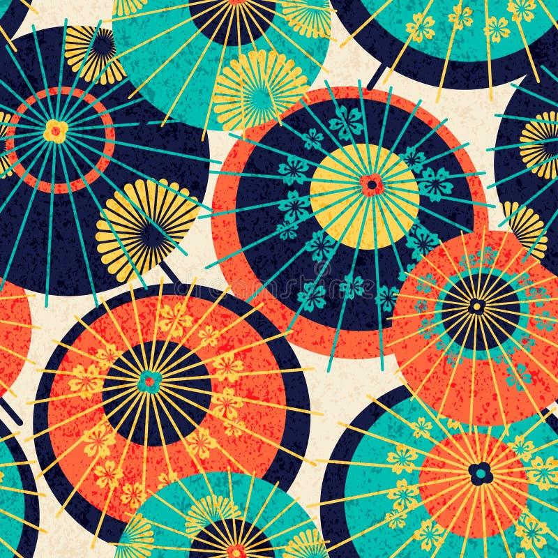 Nahtloser Musterentwurf mit bunten traditionellen japanischen Regenschirmen Entwurf für Druck, wickelnd, Tapete ein vektor abbildung