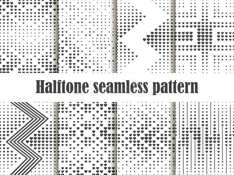 Nahtloser Musterhalbtonsatz, punktierter Hintergrund mit Herzpop-arten-Art St.-Valentinsgruß ` s Tag eine Sammlung Hintergründe vektor abbildung