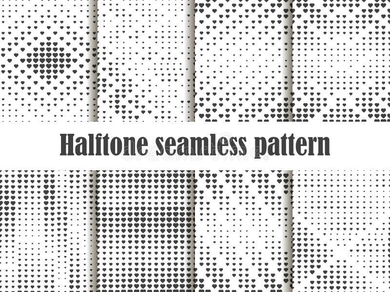Nahtloser Musterhalbtonsatz, punktierter Hintergrund mit Herzpop-arten-Art St.-Valentinsgruß ` s Tag eine Sammlung Hintergründe stock abbildung